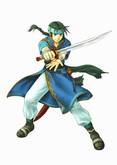 Guy - Fire Emblem: Blazing Sword; confused swordsman from Sacae's Kutolah tribe who wishes only to be the greatest sword wielder in the world. However, he will do what he needs to survive. Guy appears as a Sticker in Super Smash Bros. Brawl.