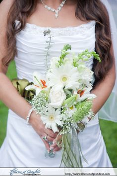 White, orange and green bridal bouquet - by Illusion of Grandeur Photography http://www.illusionofgrandeur.com