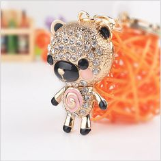 Wholesale Exquisite Crystal Keychains Novelty Items Enamel Lovely Bear Keyrings Creative Jewelry For Women Gift Purse Bag(China (Mainland))