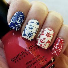 4th of July nail art using Lina's Born to Sail 2 nail stamping plate.