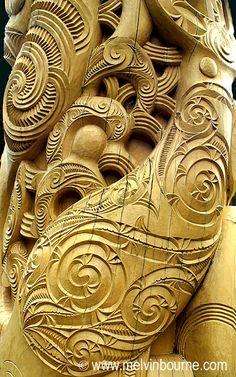 Maori Carving (Poupou) Detail, New Zealand Art Maori, Maori Tribe, Maori Patterns, Maori People, Polynesian Art, Maori Designs, New Zealand Art, Nz Art, Driftwood Sculpture