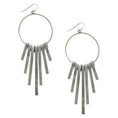 Drop Hoop Earring with Metal Bars - Silver
