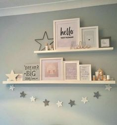 How to make your own floating shelves - Kinderzimmer - Shelves in Bedroom Baby Bedroom, Baby Room Decor, Nursery Decor, Star Bedroom, Baby Girl Bedroom Ideas, Girls Bedroom Decorating, Childrens Bedroom Ideas, Girl Toddler Bedroom, Nursery Room Ideas