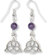 Dangling Amethyst Triquetra Earrings