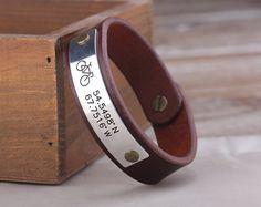 Personalized Mountain Bike Leather Cuff Bracelet  Mens