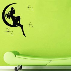 Girl in Moon with Stars Vinyl Wall Decal