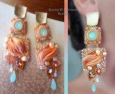 Shibori silk EARRINGS. Designed by Serena Di Mercione