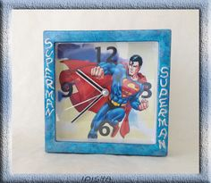 часы Супермен- clock Superman the picture for sale-продается   is made specifically for hours program PS 6 and Decoupage technique. size 13*13*4 prise: 20.00 euros