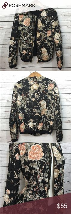 Zara Oriental Floral design Quilted Bomber Jacket Zara oriental flower printed quilted bomber jacket. Very nice! Runs small. I usually wear a size M but this size L fits just right. Gold coloured zip at the front. Jackets & Coats