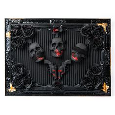 Maybe these skulls represent the remainings of those who broke the code of silence. It could be anything, since they are no longer alive to tell us. An amazing piece of steampunk art, reminding us the loss of man's most precious senses. The bronze color adds a patrician touch to this old-school framed story