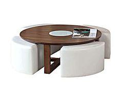 Tavolino con sgabelli Maidde bianco - d 104/h 40 cm