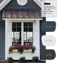 Exterior Paint Color Combinations - Room for Tuesday One of the most timeless and classic color combinations that never go out of style! The navy siding really adds contrast to the crisp white windows. Exterior Paint Color Combinations, House Paint Color Combination, Exterior Paint Colors For House, Paint Colors For Home, Outside House Paint Colors, Cottage Exterior Colors, Siding Colors For Houses, Exterior Paint Ideas, Navy House Exterior