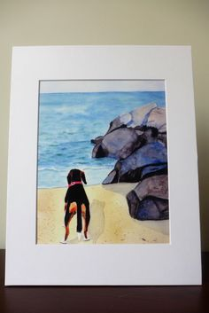 Watercolor Print with MatWhat is out There by LandandSeaArtStudio