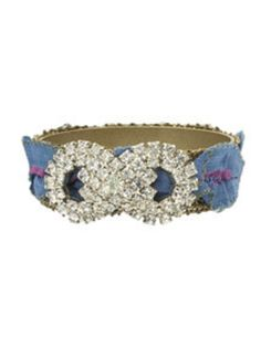 """ANTIQUE FRENCH BLUE & MAGENTA RIBBON WITH GOLD METALLIC EDGE, VINTAGE RHINESTONE SHOE CLIP, BRASS BANGLE, 7/8""""WIDE. ONE OF A KIND from LIZZIE COUTURE"""