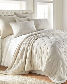 Exclusively Ours - Sutton Luxury Quilt-Solid-Quilts-Bedding-Bed & Bath White Quilt Bedding, King Comforter Sets, King Quilt Bedding, Floral Comforter, Chic Bedding, Cotton Bedding, Bedspread, Bedroom Color Schemes, Bed Sets