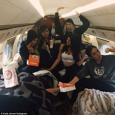 Where are they off to? Kylie posted a snap from inside a private jet as she and her friend...