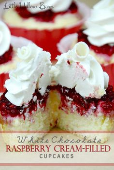 Little Yellow Barn: White Chocolate Cream-Filled Raspberry Cupcakes Cupcake Recipes, Baking Recipes, Dessert Recipes, Just Desserts, Delicious Desserts, Yummy Food, Yummy Yummy, Mini Cakes, Cupcake Cakes