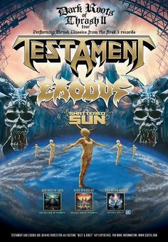 """NEWS: The thrash metal band, Testament, has announced a North American tour, called the """"Dark Roots of Thrash II Tour,"""" for this spring. Exodus and Shattered Sun will be joining the tour, as support. You can check out the dates and details at http://digtb.us/1vDYOzO"""