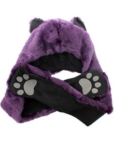 Faux Fur Animal Hat With Paws - Purple Wolf