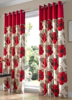 Living Room,Cute Flower Curtain Living Room: Aside of its functionally, the curtains have really important role in providing the living room with a specific style and ambience. The modern curtains will provide your living roo. Cute Curtains, No Sew Curtains, Beautiful Curtains, Modern Curtains, Drapes Curtains, Curtains Living, Red And White Curtains, White Kitchen Curtains, Tapestries