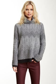 Turtleneck Zigzag Knit Wool Blend Sweater