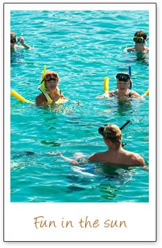 Snorkeling in the sparkling blue ocean water with your friends is super fun.