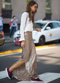 Sequins long skirt, burgundy sneakers, white simple shirt and burgundy small leather shoulderbag. The best look of the week. Street Style to copy.