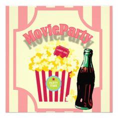 Pink Girls Movie Birthday Party Invitation