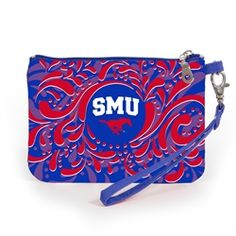 Stadium Approved Southern Methodist University wristlet. Our adorable wristlet is a must have gameday accessory. Keep your cell phone handy and your ID visible as you breeze through the security gate to cheer on your team! Fits iphone 5,6 and 7. #gamedayready #shopdesden