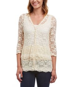 Love this Young Essence Beige Sheer Floral Button-Front Cardigan by Young Essence on #zulily! #zulilyfinds