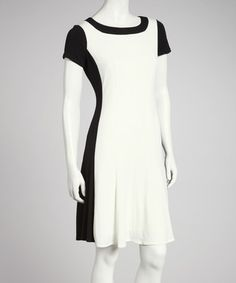 Take a look at this White & Black Fit & Flare Color Block Short-Sleeve Dress by London Times on #zulily today!