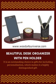 Beautiful Desk Organizer With Pen Holder Promotional Products From Wood Arts Universe Desk Organization, Organizing, Office Essentials, Living Styles, Good Housekeeping, Finding Joy, Pen Holders, Make Money Blogging, Phone Holder