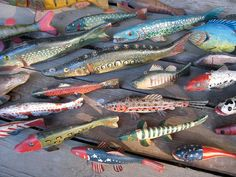 Ice Fishing Decoys.  Love these.  Such great folk art carvings.