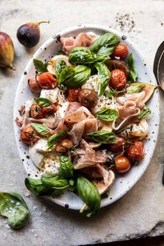 Fresh Fig, Prosciutto, and Arugula Salad with Cherry Tomato Vinaigrette. Half Baked Harvest, Fig Balsamic Arugula Salad with Bacon and Burr. Vegetarian Recipes, Cooking Recipes, Healthy Recipes, Fig Recipes, Food52 Recipes, Cooking Eggs, Clean Eating, Healthy Eating, Healthy Food