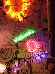Japanese Manga illustrations and neon lights.Tokyo Bar NYC
