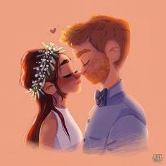 Wedding Illustration, Couple Illustration, Character Illustration, Illustration Art, Cartoon Girl Drawing, Cartoon Drawings, Cute Drawings, Timberwolf, Cartoon Art Styles