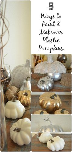 Ways to Paint and Makeover Plastic Pumpkins - Fall Home Decor