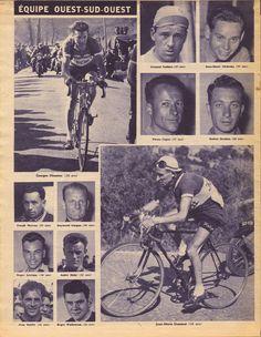 Tour de France 1951. L'équipe Ouest-Sud-Ouest. Georges Meunier (1925-2015), Armand Audaire (1924-2013), Jean-Marie Cieliszka (1928-1998), Pierre Cogan (1914-2013), Robert Desbats (1922-2007), Joseph Morvan (1924-1999), Raymond Guegan (1921-2007), Jean-Marie Goasmat (1913-2006), Roger Levèque (1920-2002), André Mahe' (1919-2010), André Ruffet (1929-2011), Roger Walkowiak (1927-2017) [But et CLUB]