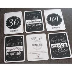 Black&White - Moja Ciąża - HooHooCreations_pregnant milestones cards_ciąża tydzień po tygodniu