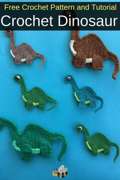 this free dinosaur crochet applique pattern and video tutorial Get this free crochet pattern of this cute crochet dinosaur applique at Kerri's Crochet.Get this free crochet pattern of this cute crochet dinosaur applique at Kerri's Crochet. Crochet Bebe, Cute Crochet, Crochet Crafts, Crochet Toys, Crochet Projects, Crochet Ideas, Crochet Dinosaur Patterns, Crochet Applique Patterns Free, Free Pattern