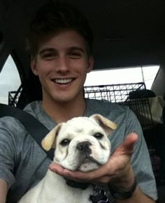 hot guys and dogs.... really hot guy.