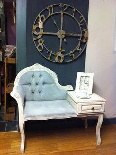 Telephone table painted in Annie Sloan Original and Paris grey with distressed copper gilding
