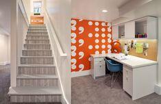 Interior Design by Vanillawood Orange Desks, Wallpaper Stairs, Living Room Decor, Living Spaces, Inspirational Wallpapers, Desk Office, Office Spaces, Basement Remodeling, Building Design