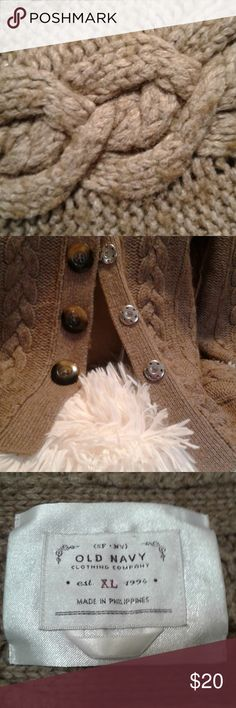 Old Navy Cable Lamb Wool Blend Sweater This is a beautiful chunky cable knit beige sweater. Beautiful large cable knit that layers across your neck and shoulder. Flawless, worn once. (Actually forgot I had it in my closet.)   Size Color Beige/Tan  See pictures for Material and Measurements Old Navy Sweaters Crew & Scoop Necks