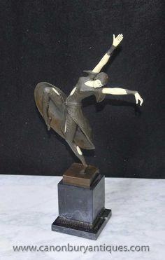 Art Deco Bronze Chiparus Figurine Almeria Statue Dancer
