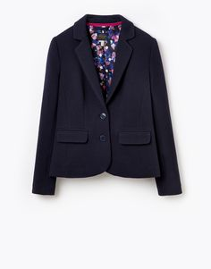 Joules womens Single Breasted Jersey Blazer, Marine Navy Crafted from soft textured cotton jersey this easy to wear jacket can be styled to look smart or relaxed. Fully lined in a beautiful unique print its a flattering and adaptable blazer that you'll wear season after season.