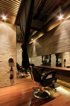 Hairu hair salon and spa interior decorating detail exposed ceilings Spa Interior Design, Interior Design Pictures, Design Salon, Interior Decorating, Hair Design, Spa Design, Design Ideas, Decorating Ideas, Barber Shop Interior
