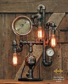 Steampunk Industrial / Steam Gauge / National Regulator Company / Chicago / Lamp #1856