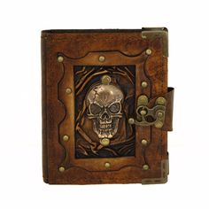 Skull head #brown handmade leather journal #notebook #diary sketchbook book ,  View more on the LINK: http://www.zeppy.io/product/gb/2/152293409874/