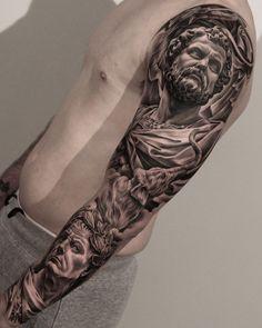 Jun cha tattoos for men tattoos, statue tattoo и tattoo arti Juncha Tattoo, Zeus Tattoo, God Tattoos, Chest Tattoo, Tattoo Forearm, Popular Tattoos, Trendy Tattoos, Tattoos For Guys, Statue Tattoo